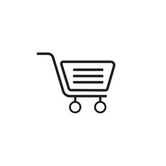 Shopping icon line outline style isolated on white background for your web and mobile app design, vector illustration