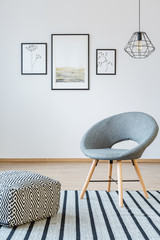Grey living room with posters