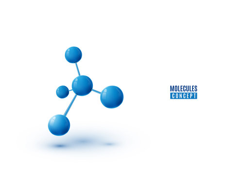 Molecule design isolated on white background. Atoms. 3d molecular structure