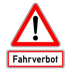 ncsc41 NewCombinationSignCaution ncsc - Verkehrszeichen - Achtung - Ausrufezeichen / dreieckig - Luftverschmutzung / Abgasalarm - Zusatzzeichen Text: Fahrverbot - xxl g5876