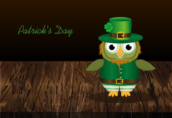 Owl with a beard  in traditional green suit on the day of Patrick