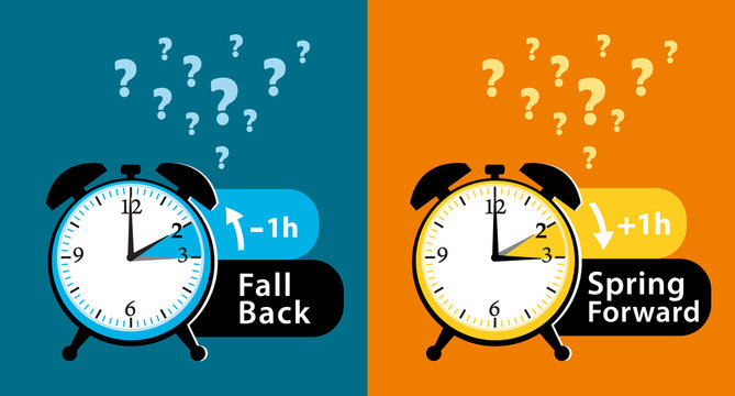 Daylight saving time date question. Colorful fall back and spring forward alarm clocks set. Colorful vector illustration.