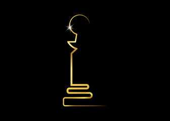 Abstract Golden statuette logo icon. Sports prize or business awards, vector illustration black background