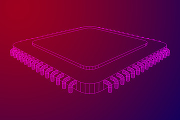 Micro-chip quantum processor, micro-processor with board electronic CPU wireframe low poly mesh vector illustration