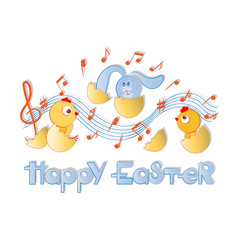 HAPPY EASTER. Musical greetings with chickens and rabbit. Postcard, poster. Composition on a light background. Decorative horizontal inscription with a contour.