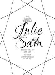 Simple minimalistic wedding invitation. geometric diamond shape. vertical.