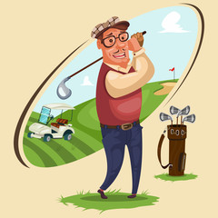 Golfer plays golf. Vector cartoon illustration with the attributes of the game: bag for clubs, electric car and landscape territory of the sports field.