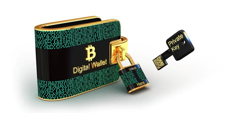 Bitcoins digital wallet with lock and private key isolated on white background,3D illustration concept.