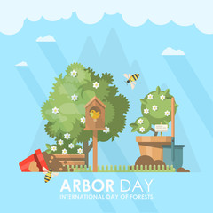 Arbor day vector illustration in flat modern design. Eco concept