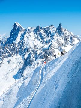 Mont Blanc mountain peak in Chamonix, France