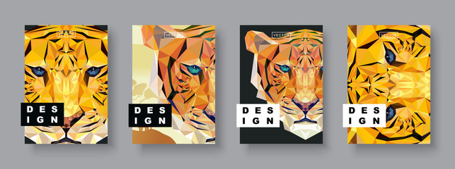 Tiger abstract covers set. Card tiger template. Future Poster template.Polygonal halftone.Tiger silhouette illustration