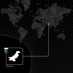 Pakistan on black World Map. Map and flag of Pakistan.