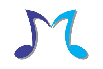 letter M music note logo