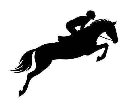 Horse jumping on a white background