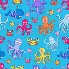 Seamless vector pattern with underwater creatures like octopus, crab, whale, starfish. Lovely vector illustration.