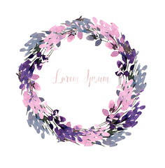 Bright and Beautiful watercolor wreath with purple flowers.