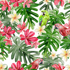 Beautiful bright watercolor pattern with tropical leaves and flowers Plumeria, Hibiscus and Parrot.
