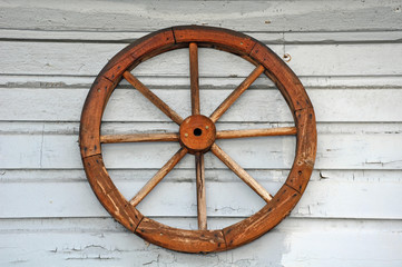 Old weathered wagon wheel