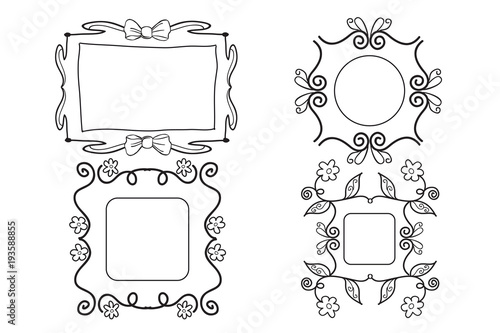 nice girly hand drawn black and white picture frames stock image