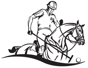 Equestrian polo player and pony horse . Horseman sitting on a horseback and holding a long handled wooden mallet sick to hit a ball . Equine sport emblem badge . Black and white vector illustration