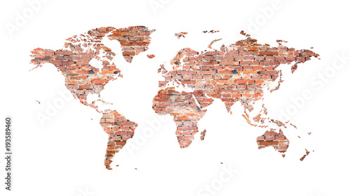World map from old bricks in loft style for interior design world map from old bricks in loft style for interior design screensaver gumiabroncs Choice Image
