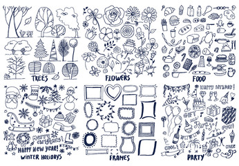 Set of Trees Flowers Food Party Frame Patterns