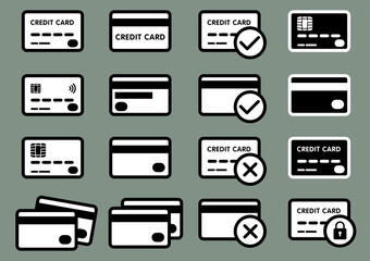 set of credit icons