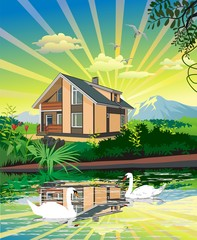 House By The Pond With Swans. Vector illustration