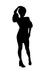 Silhouette of a slim, tall girl on a white background