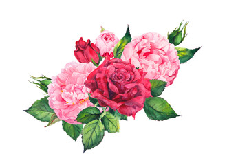 Pink peony flowers and red roses. Watercolor