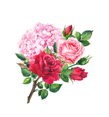 Red and pink roses, hydrangea flower - floral composition. Watercolor