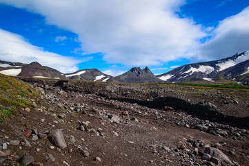 Volcanic landscape. Avachinsky Volcano - active volcano of Kamchatka Peninsula. Russia, Far East.