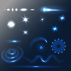 Set of Stars and sparkles effects for design. Unusual elements on half-transparent background