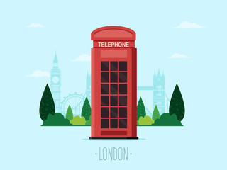 Travel to London. Telephone Booth with Famous London Landmarks in the Background. Flat Design Style.