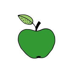 Linear cartoon hand drawn apple. Cute vector colorful doodle apple. Isolated funny apple silhouette on white background.