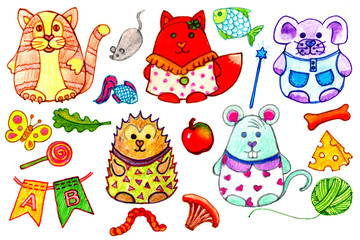 illustration of cute animals. Freehand drawing Doodle cute cat, Fox, dog, hedgehog and mouse. the icons set.