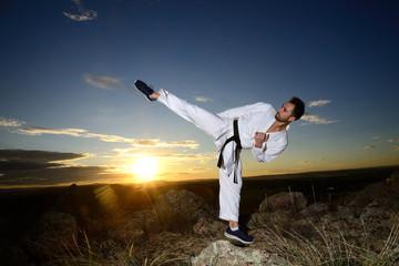 Foto op Aluminium Vechtsport Specialist in martial arts making technical movements.