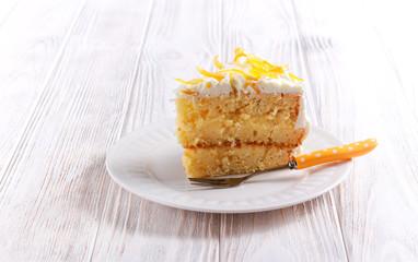 Tender lemon cake with candid lemon