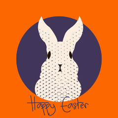 Easter greeting card with text happy easter and cute bunny rabbit.