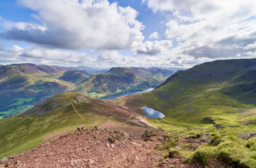 Views of Lake Buttermere & Bleaberry Tarn on route to the summit