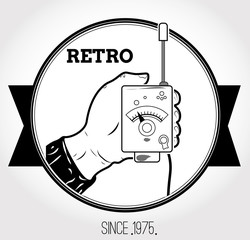 Vintage logo with walkie-talkie