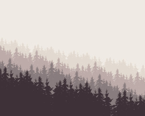 vector illustration of a forest under a gray sky
