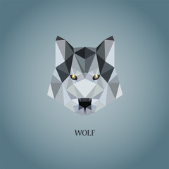 Wolf's logo painted in the style of Poly Low