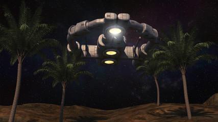 3D render. Alien spaceship UFO concept