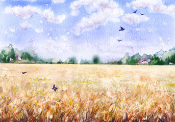 Watercolor Landscape with Wheat Field