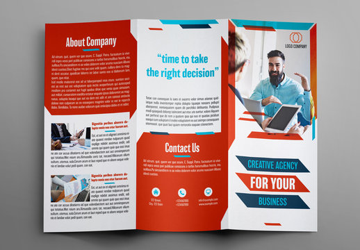 Trifold Brochure Layout with Blue and Red Accents 1