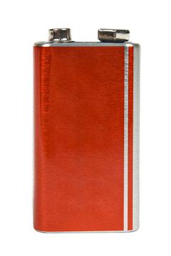 9V battery, nine volt power cell. Isolated on white background