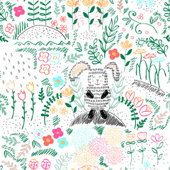 Forest seamless pattern. Vector illustration.