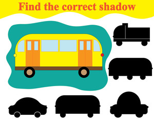 Find silhouette of bus. Game for children. Education.