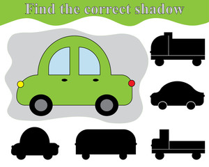 Find the right shadow of car. Shadow matching kid's game. Activity for preschool children.